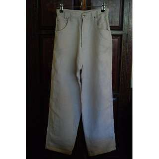 Womens High Waist Baggy Cream Linen Raw Look Pants