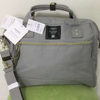 < IN STOCK > LARGE Authentic ANELLO 2 way Boston bag, GREY! Polyester