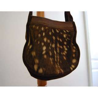 Genuine Fawn Fur Suede Leather Bag