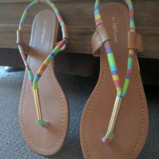 Rainbow and Gold Sandals