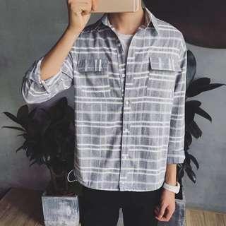韓國秋款橫條紋長袖襯衫