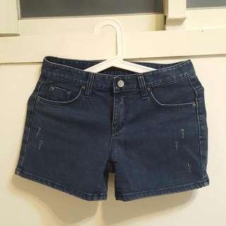 正韓 牛仔短褲 深藍原色 S