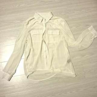 Sheer White Collar Blouse