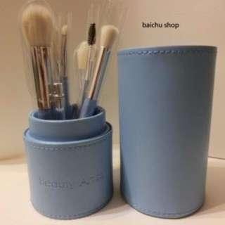 ★ ╦ 預購  ╦ ★Beauty Artisan 美麗工匠 刷具 化妝刷具組 + 質感皮桶 超值優惠價! 天空藍