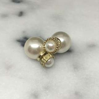 Tribul Gold Pearl Double-sided Earring