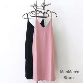 (現貨)韓風吊帶裙V領開叉寬鬆連身裙(黑)