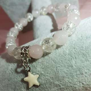 Rose Quartz/Snow Quartz Bracelet 8mm