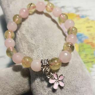 Prehnite/Rose Quartz Bracelet 8mm