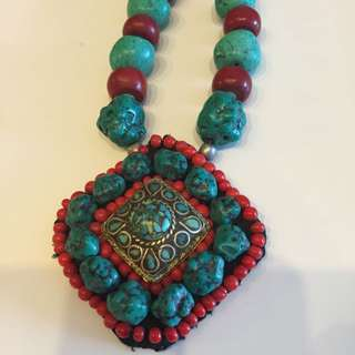 Large Stone and Bead Necklace