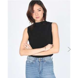 (Not Selling ATM) Haniela Funnel Neck Knit Top - Black Size S - Love Bonito