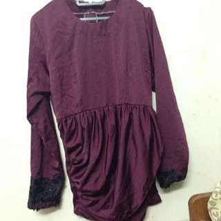 Purple Maroon Inspired Aneesa Top Kurung Minaz