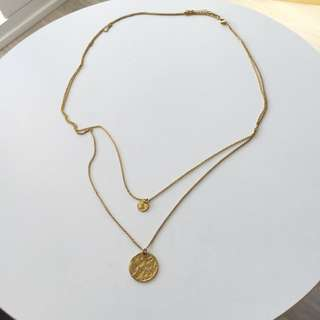 Double Chain Hammered Coin Necklace