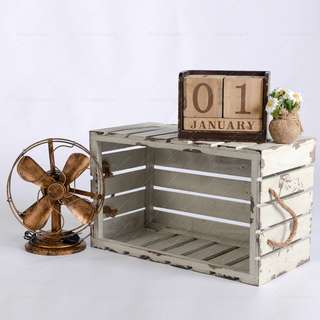 Wooden Crate with Rope (White) **RENTAL** Wedding / Events Props & Deco