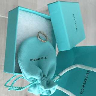 Tiffany Sterling Silver Ring With Real Diamonds