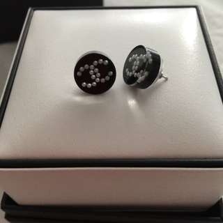 Authentic Chanel Stud Earrings With Mini Chanel Pearls