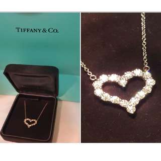 Authentic - Tiffany&Co Platinum diamond heart necklace