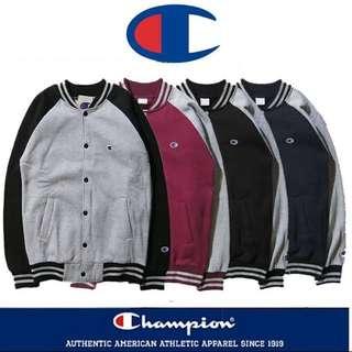 日系 Champion 冠軍 複古棒球外套 情侶款 黑色 紅色 藍色 灰色 尺寸:M L XL XXL