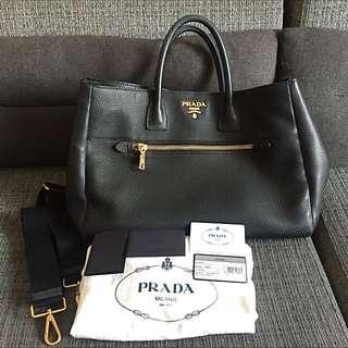 Prada BN2545 Vitella Daino (Black Calf Leather)