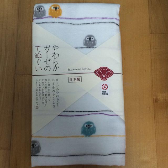 日本製和風棉紗毛巾(貓頭鷹)