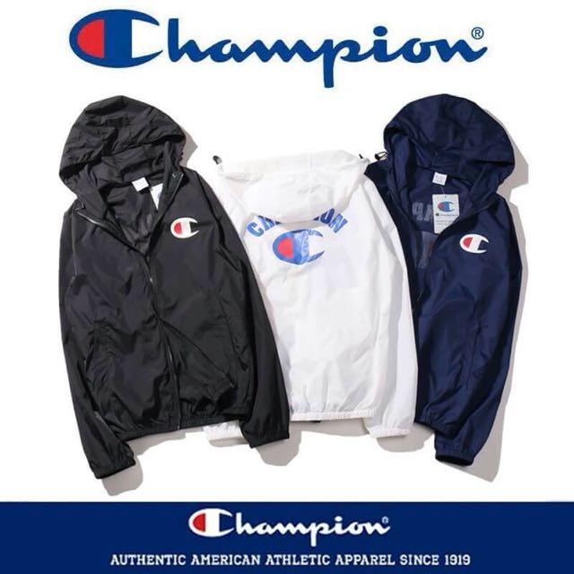 日系 Champion 冠軍 單層薄款防曬風衣外套 情侶款 黑色 白色 藍色