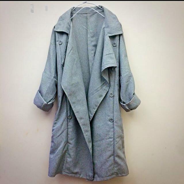 Ajpeace 灰色細格開襟綁帶薄風衣外套