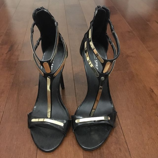 Black And Gold Spring Heel Size 7