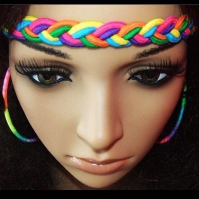 braid rainbow headband
