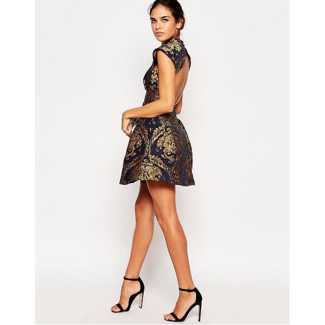 25c5d29bf8 Chi Chi London Petite High Neck Baroque Print Structured Skater With Open  Back