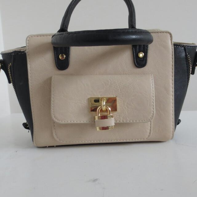 Cream And Black Handbag