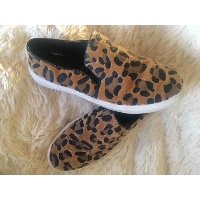 Faux Fur Leopard Vans Style Sneaker