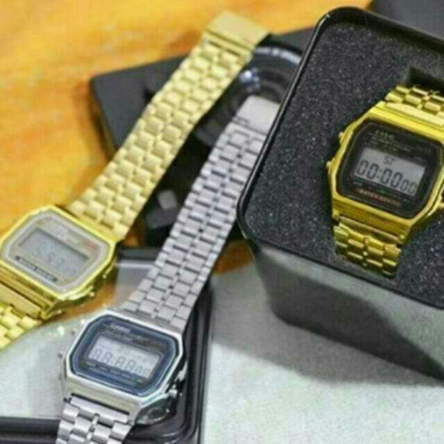 ✅FREE SHIPPING CASIO Digital Watch Gold And Silver Replica