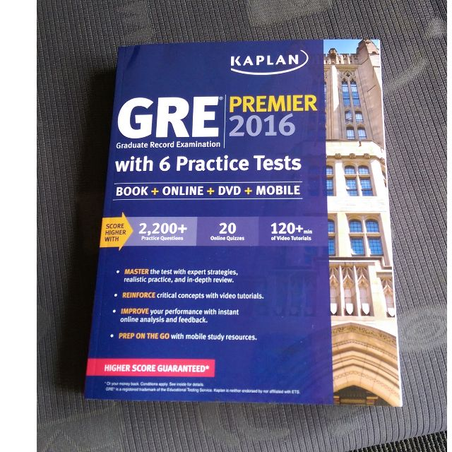 Kaplan GRE Premier 2016 Texbook with CD NEW