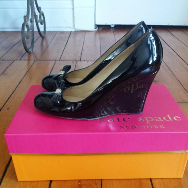 Kate Spade Black Patent Wedges