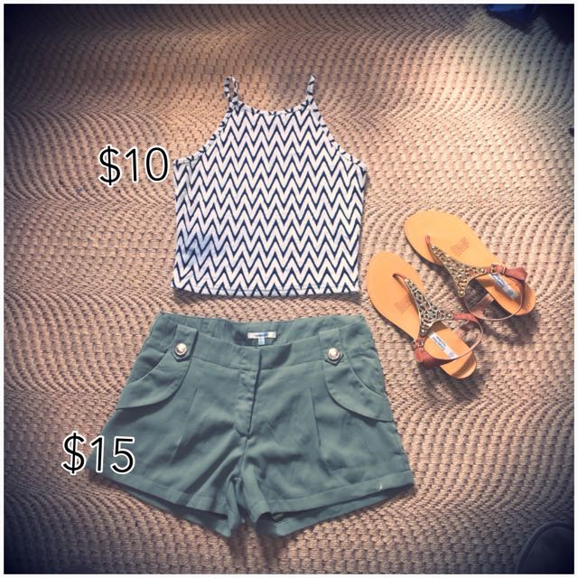 Mary Green Shorts , Black And White Crop