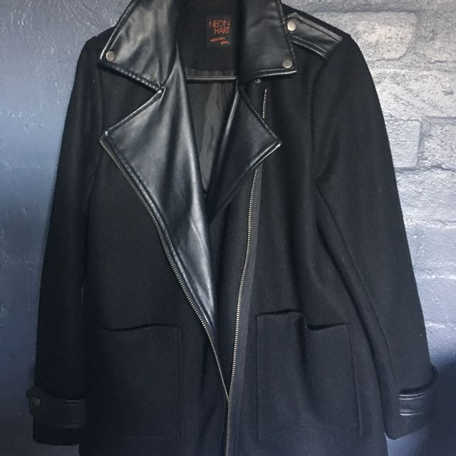 NEON HART black Leather Coat