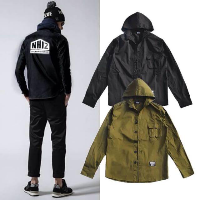 NHIZ 軍事風工裝長袖襯衫 黑色 軍綠色 尺寸:M L XL