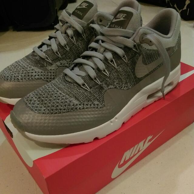 free shipping 79e55 6c200 Nike Air Max 1 Ultra Flyknit Wolf Grey 9.5, Sports, Sports Apparel ...
