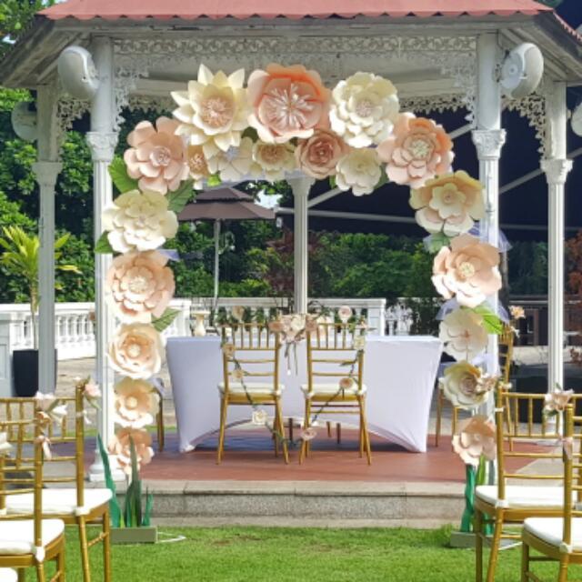 Paper Flowers Wedding Arch Design Craft Handmade Craft On Carousell