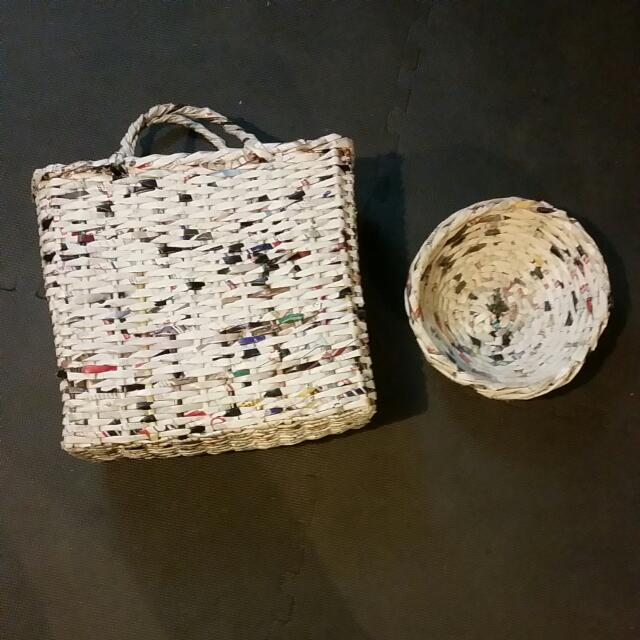Paper Woven Bowl And Basket