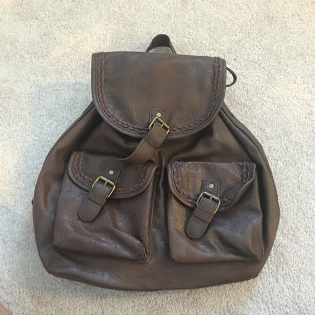 Pleather Pouch Backpack