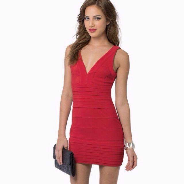 Tobi Red Bandage Dress