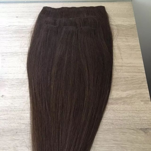 "Remy Hair Extensions 20"" Brown 5 Piece Clip In"