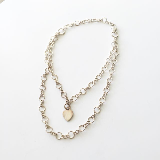 Sterling Silver Double Chain Heart Necklace