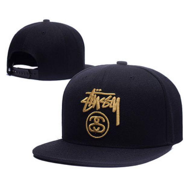 99e212cfbf98fa Stussy SS Link Black Gold Straight Brim Baseball Cap Hat Caps Hats ...