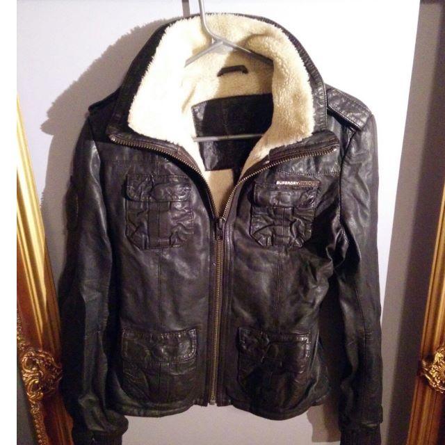 Superdry Leather Jacket (Medium)