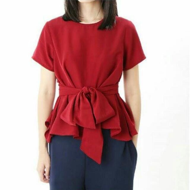 Tied Blouse Red