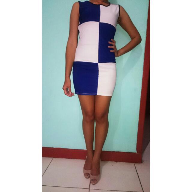 White Blue Checkered Mini Dress