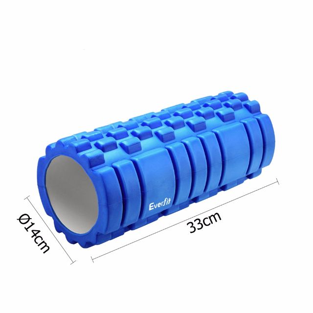 Yoga Gym Pilates EVA Grid Foam Roller Blue 33 x 14cm Gym Fitness Equipment