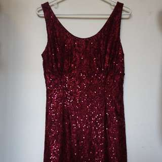 Maroon Lace And Sequin Stretch Dress