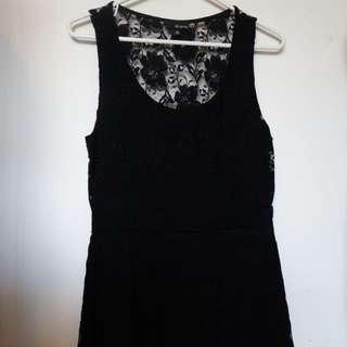 Black Lace Sleeveless Babydoll Dress